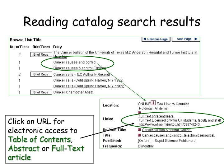 Reading catalog search results