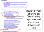 results from clicking on monitoring systems and statistical databases link