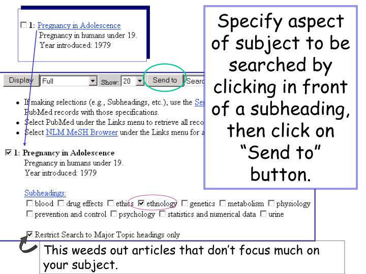 "Specify aspect of subject to be searched by clicking in front of a subheading, then click on ""Send to"" button."