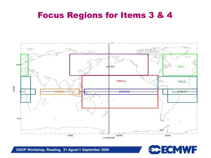Focus Regions for Items 3 & 4