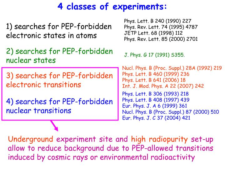 4 classes of experiments: