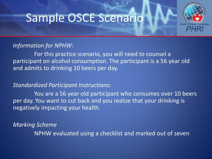 Sample OSCE Scenario