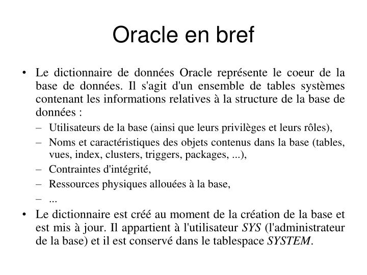 Oracle en bref