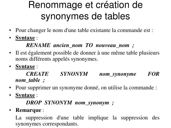 Renommage et création de synonymes de tables