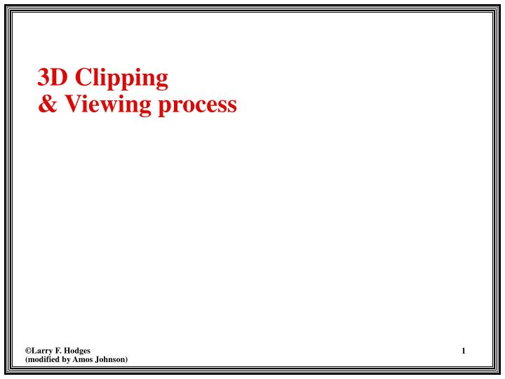 3d clipping viewing process