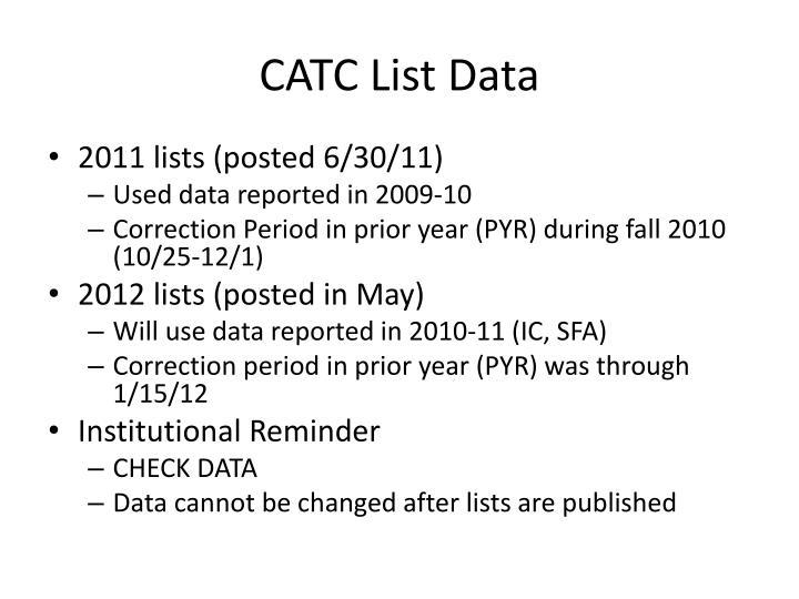 CATC List Data