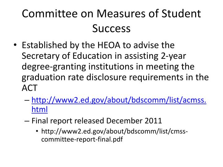 Committee on Measures of Student Success