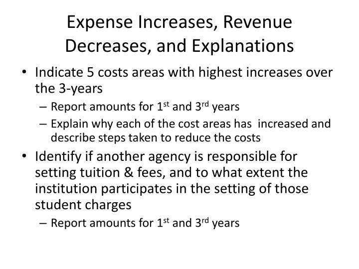 Expense Increases, Revenue Decreases, and Explanations