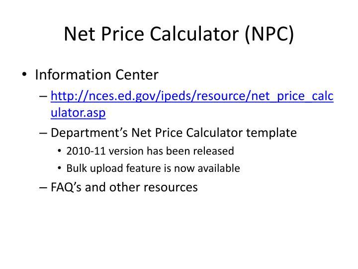Net Price Calculator (NPC)