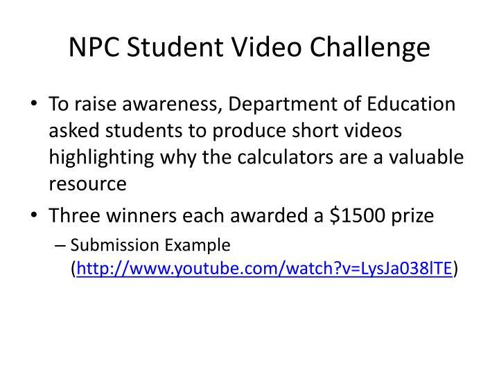 NPC Student Video Challenge