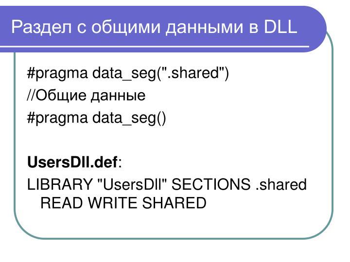 Раздел с общими данными в DLL