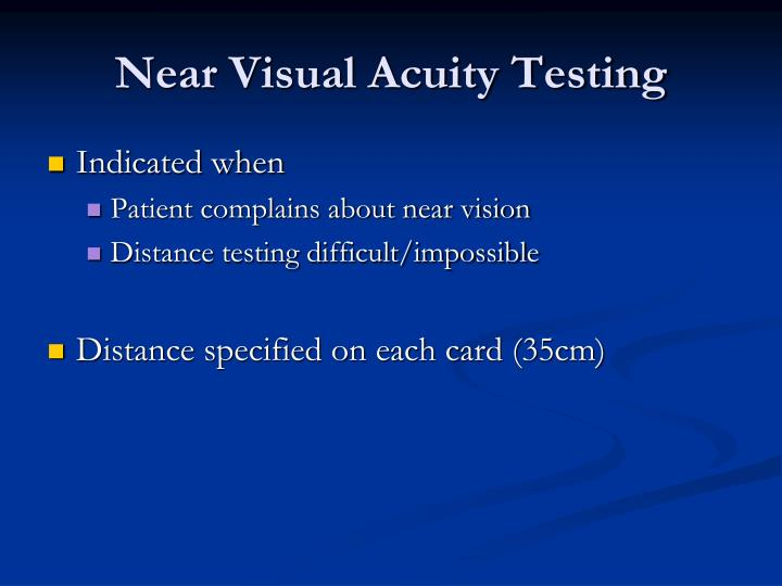 Near Visual Acuity Testing
