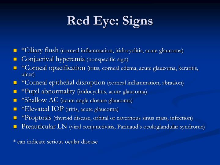 Red Eye: Signs