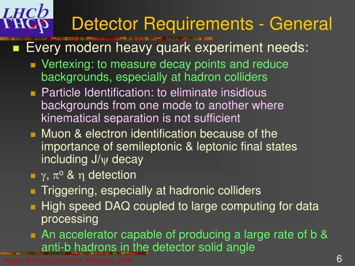 Detector Requirements - General