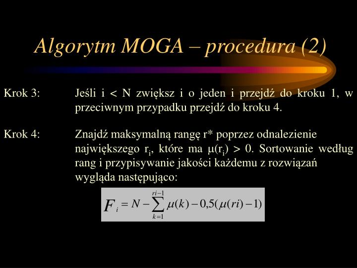 Algorytm MOGA – procedura (2)