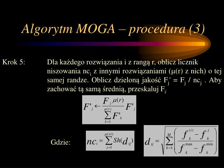Algorytm MOGA – procedura (3)