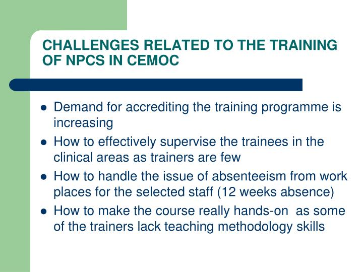 CHALLENGES RELATED TO THE TRAINING OF NPCS IN CEMOC