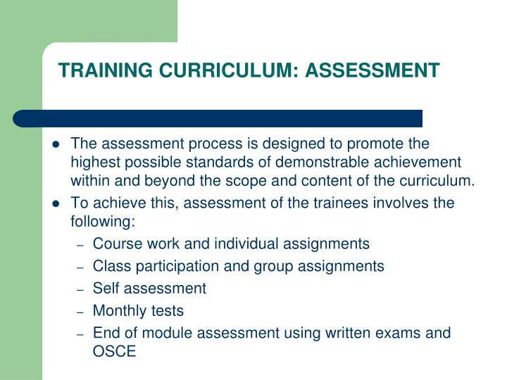TRAINING CURRICULUM: ASSESSMENT