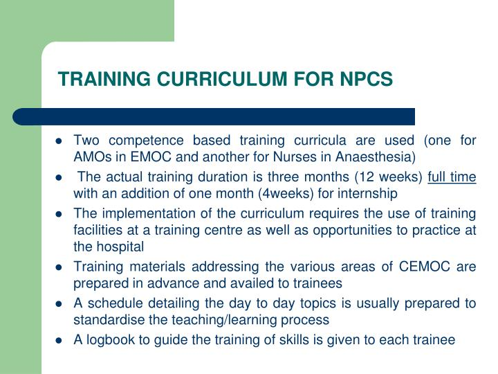 TRAINING CURRICULUM FOR NPCS
