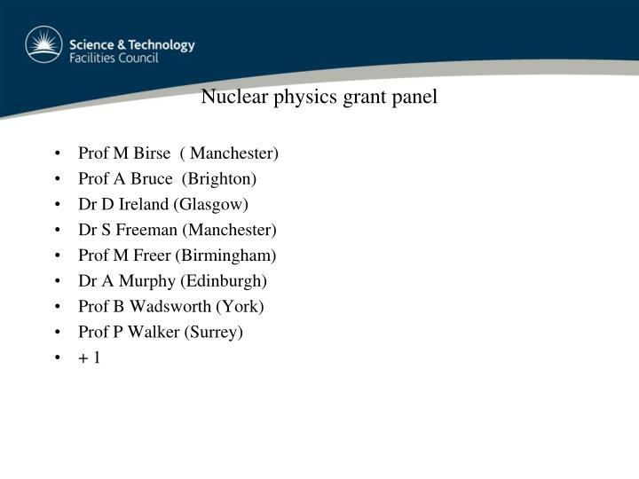 Nuclear physics grant panel