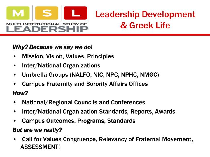 Leadership Development & Greek Life