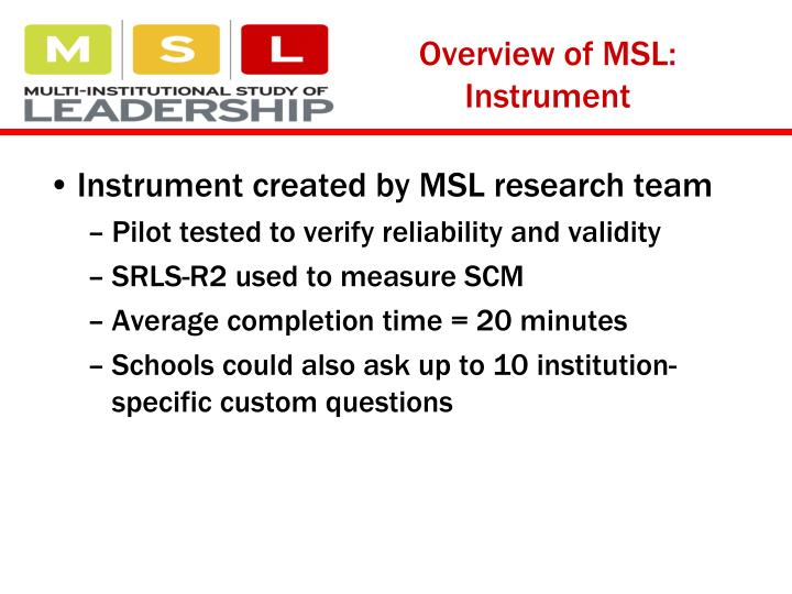 Overview of MSL: Instrument