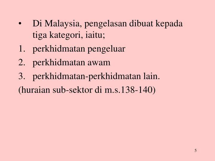Di Malaysia, pengelasan dibuat kepada tiga kategori, iaitu;