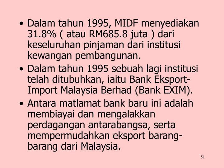 Dalam tahun 1995, MIDF menyediakan 31.8% ( atau RM685.8 juta ) dari keseluruhan pinjaman dari institusi kewangan pembangunan.