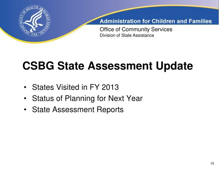 CSBG State Assessment Update