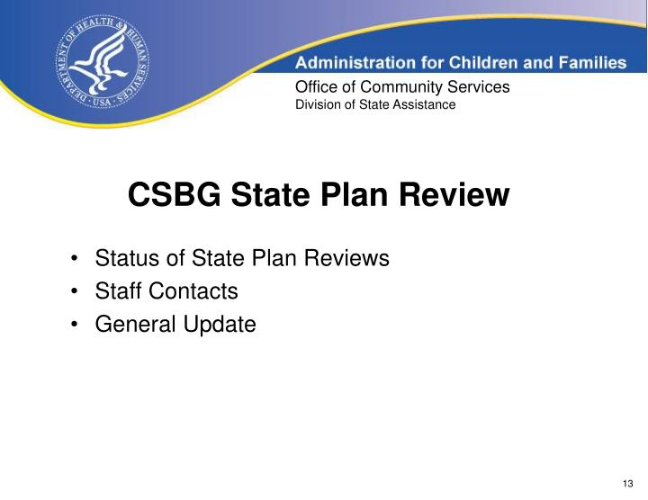 CSBG State Plan Review