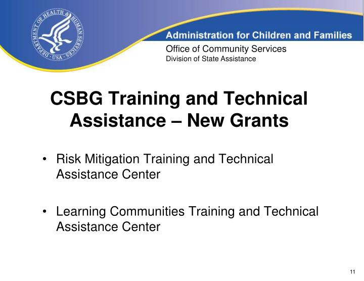 CSBG Training and Technical Assistance – New Grants