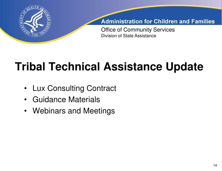 Tribal Technical Assistance Update
