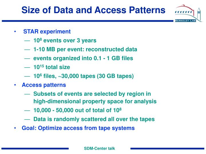 Size of Data and Access Patterns
