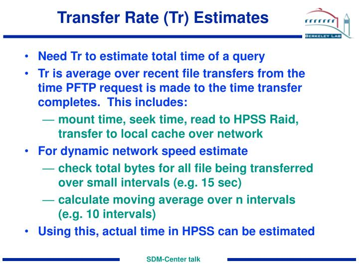 Transfer Rate (Tr) Estimates