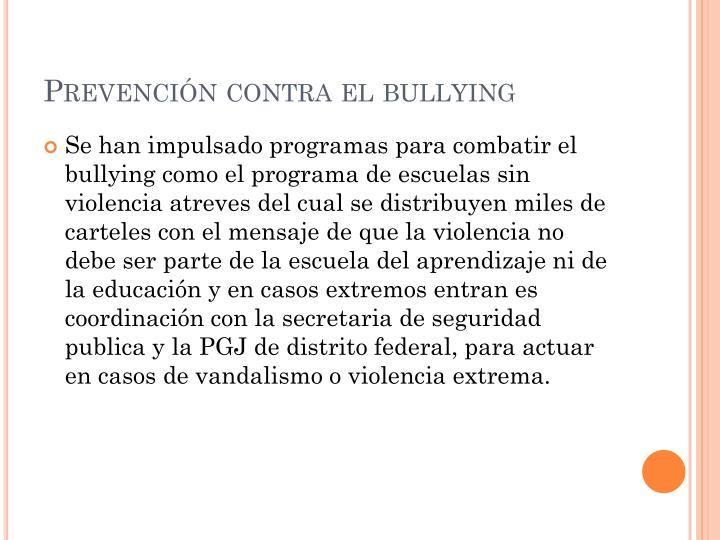 Prevenci n contra el bullying