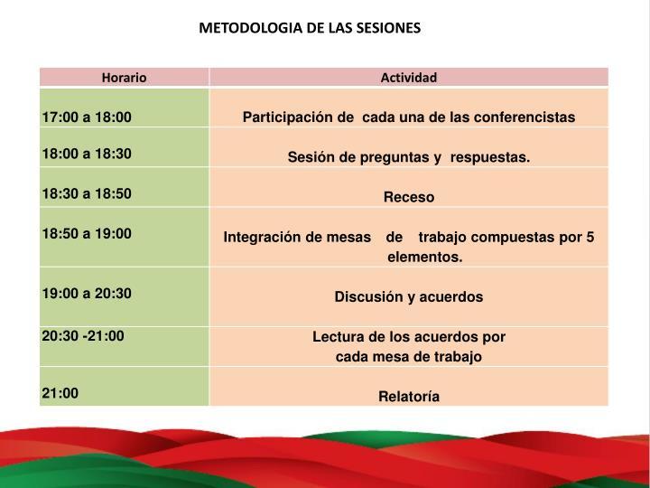 METODOLOGIA DE LAS SESIONES