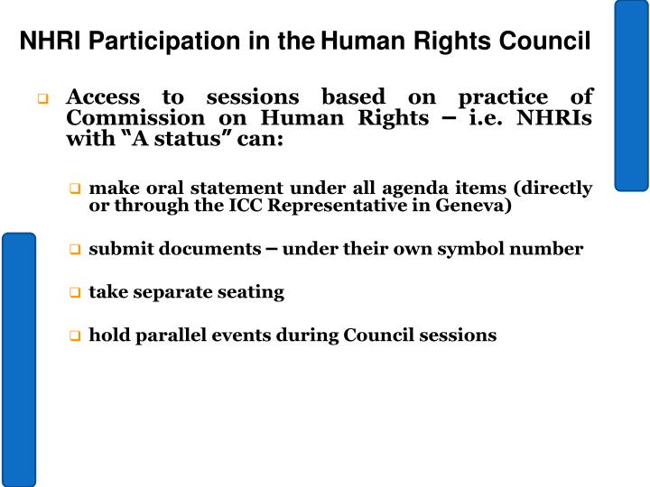 Access to sessions based on practice of Commission on Human Rights