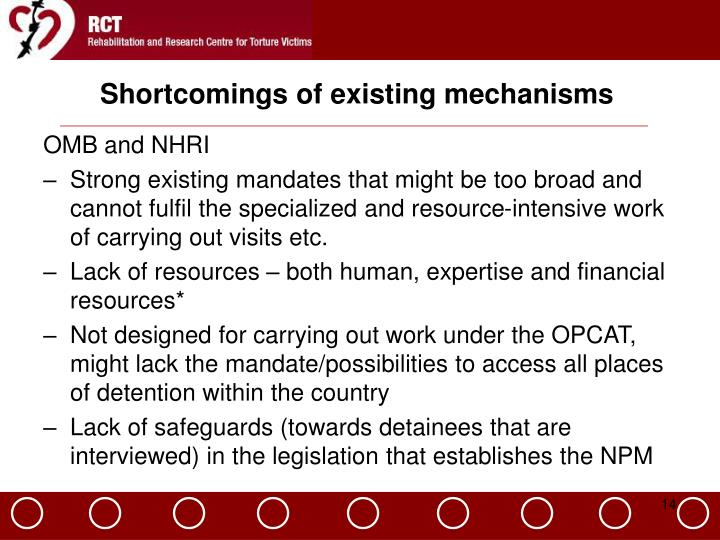 Shortcomings of existing mechanisms