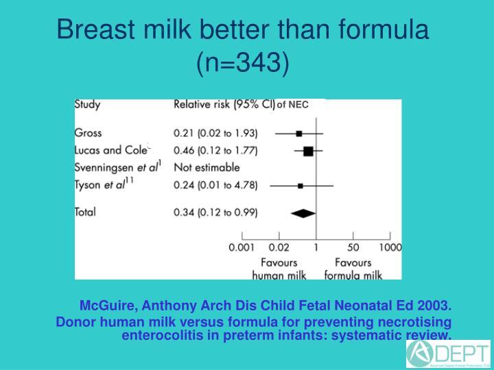 Breast milk better than formula (n=343)