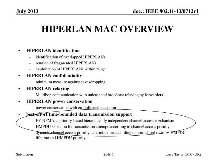 HIPERLAN MAC OVERVIEW