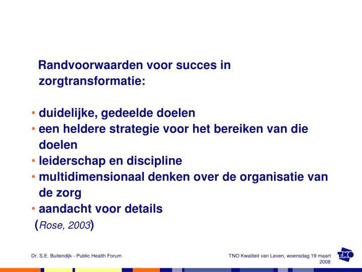 Randvoorwaarden voor succes in zorgtransformatie: