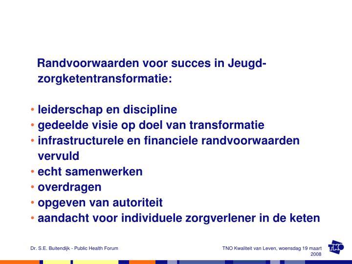 Randvoorwaarden voor succes in Jeugd-zorgketentransformatie: