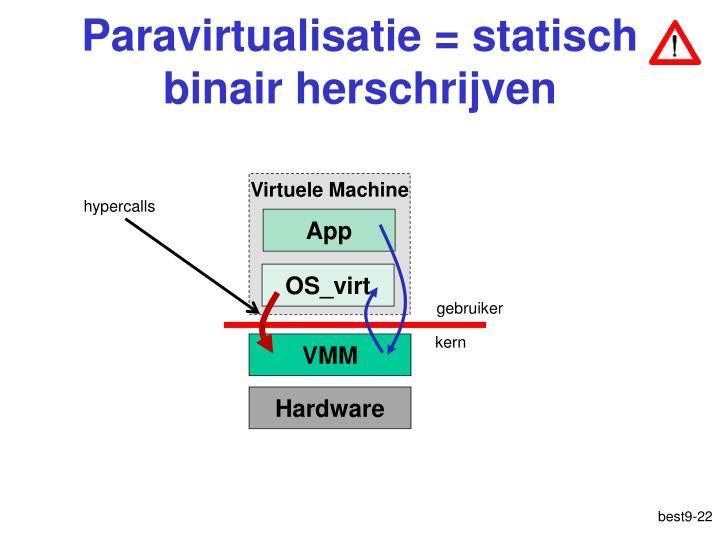 Paravirtualisatie = statisch binair herschrijven