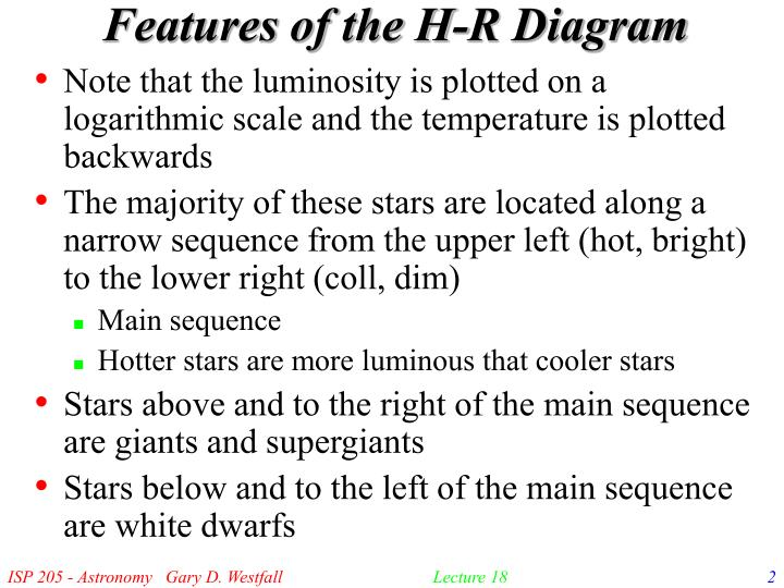 Features of the h r diagram