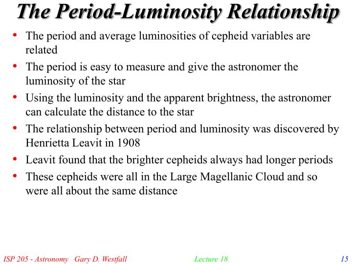The Period-Luminosity Relationship