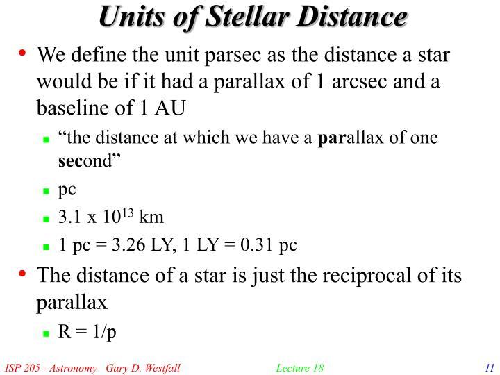 Units of Stellar Distance