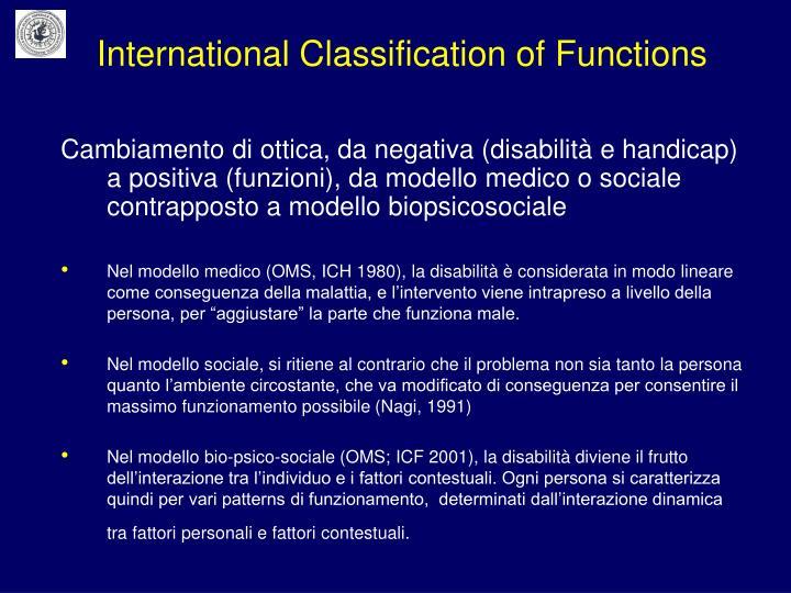 Cambiamento di ottica, da negativa (disabilità e handicap) a positiva (funzioni), da modello medico o sociale contrapposto a modello biopsicosociale