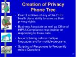 creation of privacy phone tree
