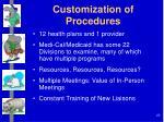 customization of procedures