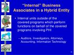internal business associates in a hybrid entity